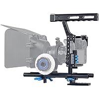Fomito Kamerastabilisator für Spiegelreflexkamera/Videokamera aus Aluminiumlegierung mit Griff, mit 15 mm Gestänge, für Sony-Kamera A7/A7 II/A7s/A7R/a7R II, Panasonic GH4