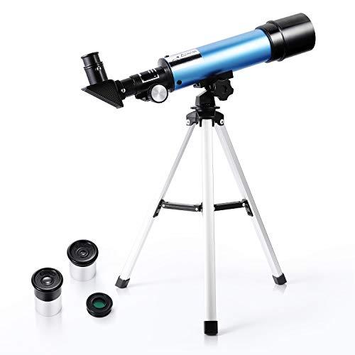 Astronomisches Teleskop für Kinder 90X HD Refraktor für Erziehungswissenschaften mit Stativ für Anfänger - Uverbon