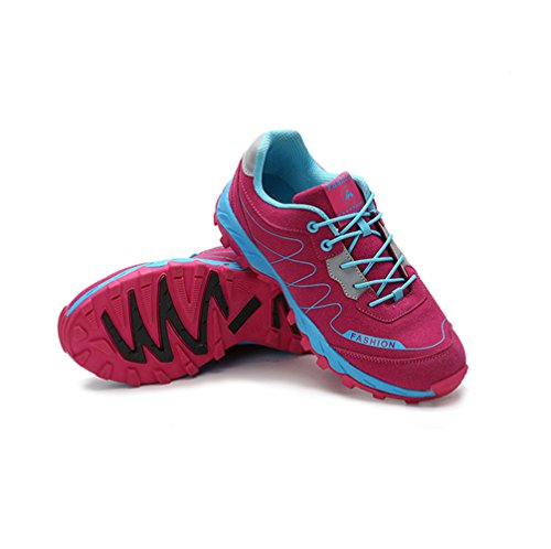 Chaussure randonné sportif sneakers cross-country exercice fitness basket mode amoureux d'air homme femme rose vif