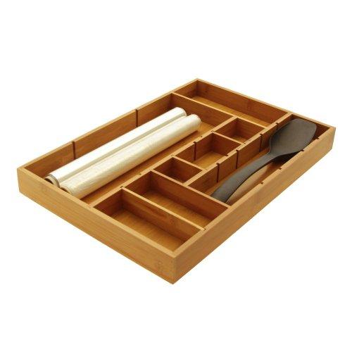 Verstellbare Schubladen-Einsätze, Organizer für Besteck, aus umweltfreundlichem, natürlichem und nachhaltigem Bambusholz