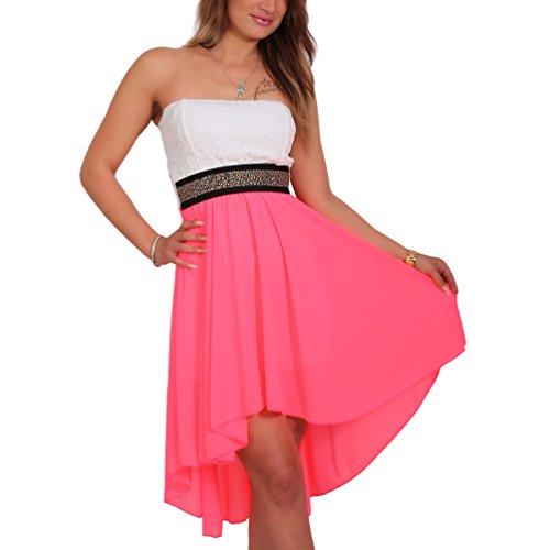 Sexy Chiffon Bandeau Kleid Vokuhila Strass Spitze Cocktailkleid Partykleid Neu Neon-Pink