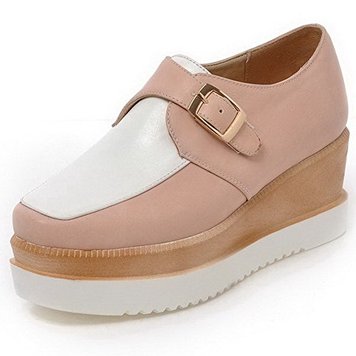 VogueZone009 Damen Schnalle Quadratisch Zehe Hoher Absatz Pu Leder Pumps Schuhe Pink