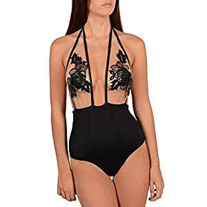 carinacoco Donna Costumi Interi Ricamo Halterneck Costume da Bagno Intero Prospettiva Vita Alta Bikini Beachwear Mare e… 3 spesavip