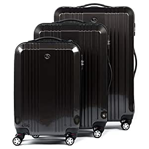 FERGÉ luggage set 3 piece hard shell trolley CANNES suitcase set 4 twin spinner wheels grey