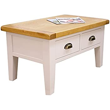 This Item Arklow Painted Oak Dovetail Grey Coffee Table With Drawers Living Room Storage