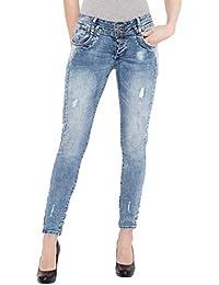 Blue Monkey Skinny-fit-jeans »honey 1733« Mit Floraler Stickerei Dunkelblau