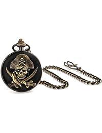 Bling Jewelry im antiken Stil Pirat Totenkopf Schwarz Vergoldet Mens Pocket Watch