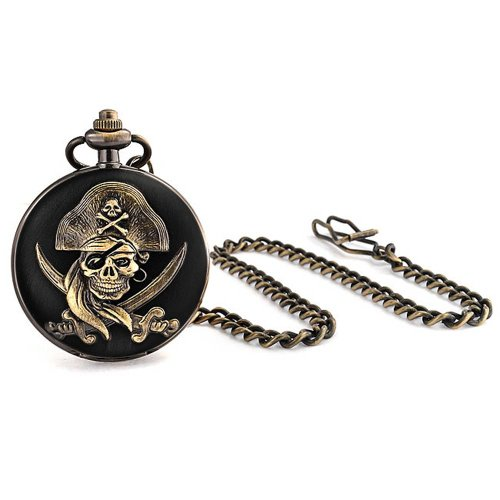Pirate Skull and Crossbones Black Gold Plated Mens Pocket Watch with Engraving (Gold Watch Plated)