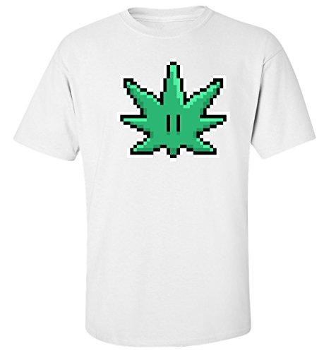 Pixel cannabis leaf old school funny t-shirt homme blanc coton (L)