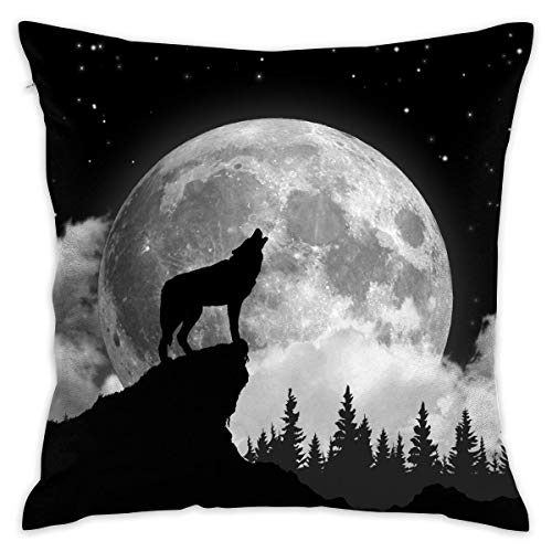 13 Decorative Bar (Wolf Howling at The Full Moon Throw Pillow Cases Cushion Cover Car Sofa Home Decorative 18x18 Pillowcase for Home Sofa Decorative Office Chairs, Cars, Bars)