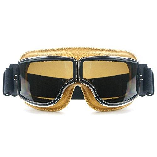 Heinmo Motocross Aviator Ski Motorrad Roller Brille Retro Helm Brille für Harley (Smoke Objektiv gelb Polsterung)