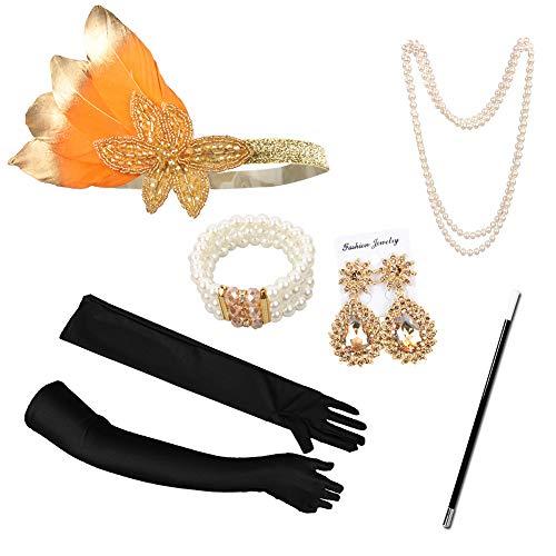 1920er Jahre Zubehör Set Flapper Kostüm Accessoires,Halskette, Handschuhe, Zigarettenspitze