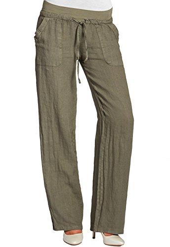 CASPAR KHS025 Damen Leinenhose, Farbe:oliv grün;Größe:40 L UK12 US10 (Klassische Leinenhose)