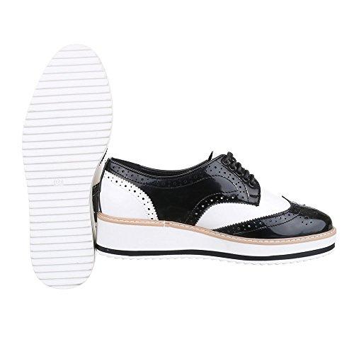 Schnürer Damenschuhe Oxford Schnürer Schnürsenkel Ital-Design Halbschuhe Schwarz Weiß