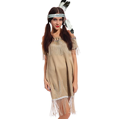 Karneval Damen Kostuem Indianerin Sioux Squaw Wilder Westen Kostuem Indianerkostuem Halloween Party (Outfits West Wild)