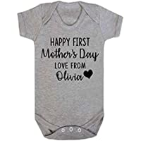 Personalised Happy First Mother's Day Love from Baby Vest Romper Baby Gifts Newborn Gifts Babywear Sleep suit New Mum Gifts