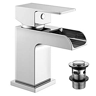 Alfred Victoria Modern Mini Mono Basin Brass Mixer with Sprung Waste ZB07 - Chrome Finish