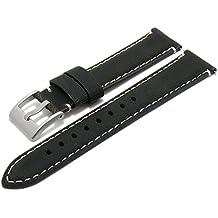 Meyhofer EASY-CLICK Uhrenarmband Yosemite 20mm schwarz Leder Vintage-Look helle Naht My2fcml2025