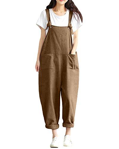 StyleDome Damen Lässig Insgesamt Baggy Taschen Lange Harem Playsuit Hose Jumpsuits Overalls (36, Khaki)