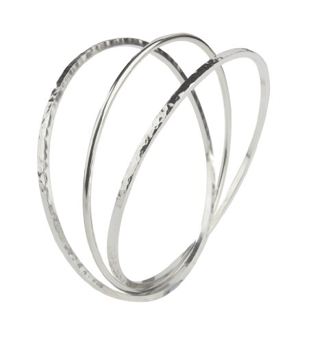 Silver Square Hammered & Round Triple Bangle