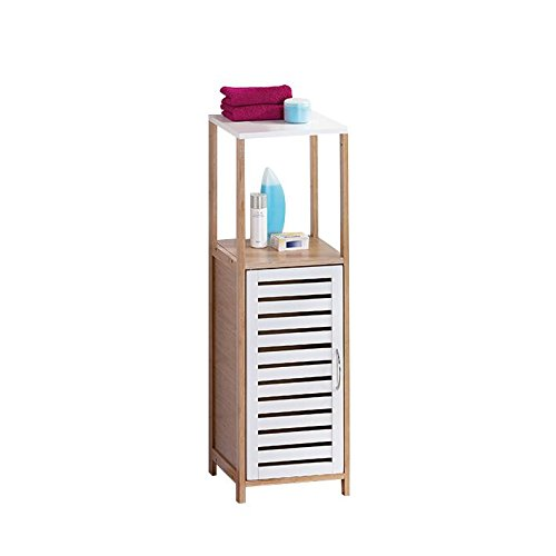 Universalregal aus Bambus- mit 3 Ablage Fächern + MDF Tür in Weiß ideal zur Aufbewahrung oder als Stauraum im Badezimmer ca. 30 x 30 x 96 cm Badregal