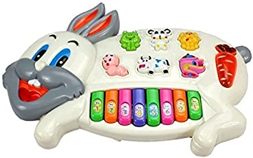 Toyshine Rabbits Musical Piano with 3 Modes Animal Sounds, Flashing Lights & Wonderful Music