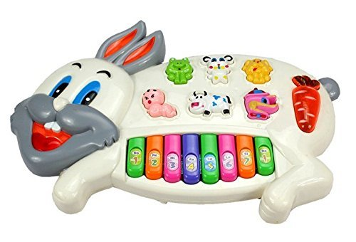 Sunshine Gifting Rabbits Musical Piano With 3 Modes Animal Sounds, Flashing Lights & Wonderful Music