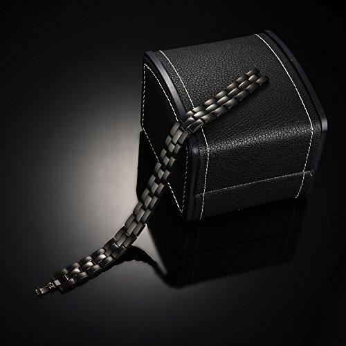 e50085a5264 Bracelet Homme Magnetique - Koooper Bracelet en Titane 4 Elements aimants -  Boîte-Cadeau avec L outil de Réglage - Noir