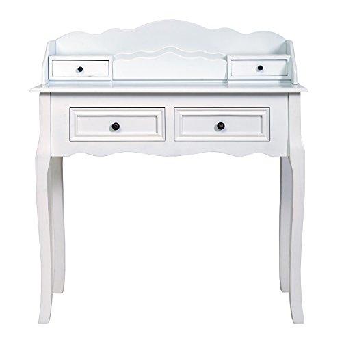 Mobili rebecca consolle scrittoio 4 cassetti legno bianco classico elegante ingresso soggiorno camera (cod. re4140)