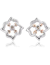 0ac0aace0 Clogau 925 Sterling Silver and 9ct Rose Gold Tree of Life Flower Stud  Earrings