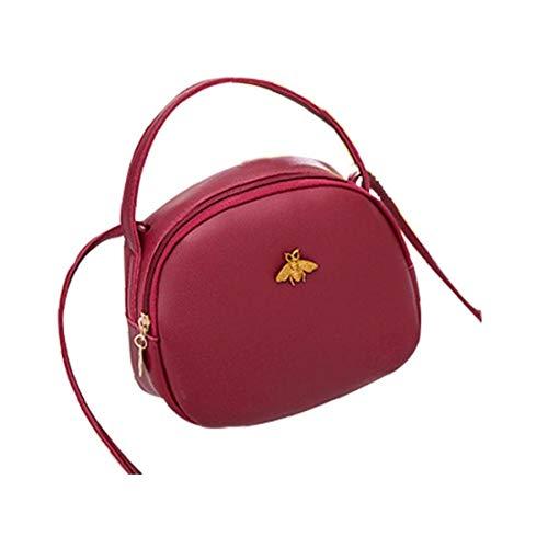 Half Moon Leder (Frauen-Kurier-Beutel PU-Leder-Handtaschen Mini Half-Moon-Schulter Crossbody-Tasche Mädchen Kupplungen Geldbeutel Handy-Beutel (Rot))