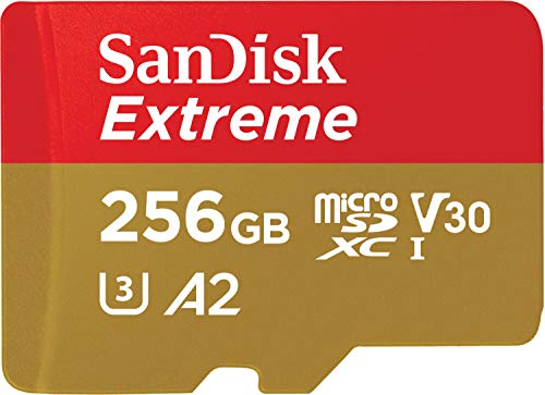 SanDisk Extreme microSDXC, 160MB/s R, 90MB/s W,C10,UHS 1,U3,A2 Card,for 4K Video Rec on Smartphones,  Action Cams & Drones SDSQXA1 256GB