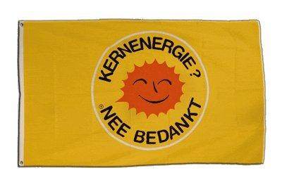 Flagge Atomkraft Nein Danke niederländisch - Kernenergie Nee Bedankt - 90 x 150 cm