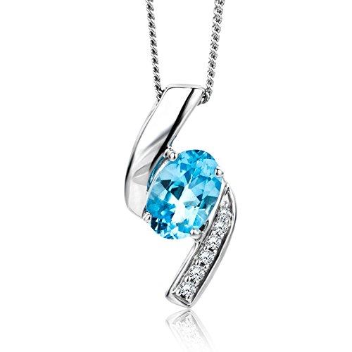 Orovi collana - pendente - ciondolo donna con catena in oro bianco con diamanti taglio brillante e topazio blu ovale ct 0.54 oro 9 kt/375 catenina cm 45