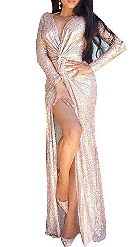Femmes Sexy col V à manches longues Paillettes Stitching Noué de Split Maxi Dress Or