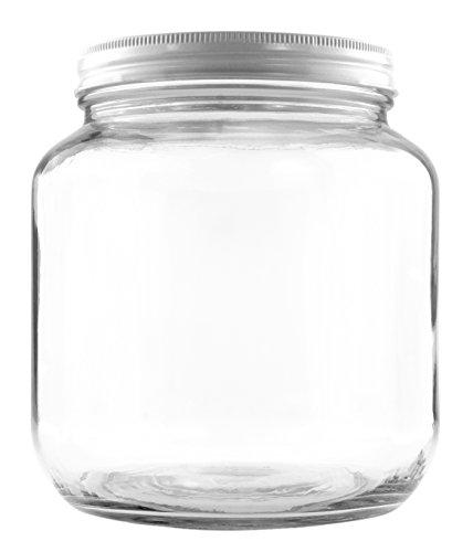 64oz Klar wide-mouth Glas, BPA-frei Lebensmittelechtes W/Weiß Metall Deckel (die Hälfte Gallonen); 2Quart Jar, um griechischen Joghurt/Kefir oder Pickles