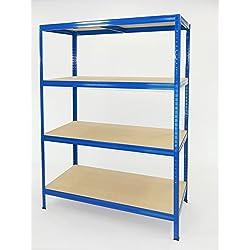 Futtal Étagère métallique de 180x 120x 60cm avec 4niveaux Bleu très intense, bleu