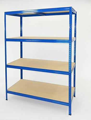 Metallregal Futtal von sehr starke 180x 120x 60mit 4Etagen Blau, blau 4 Regal-platz Bücherregal