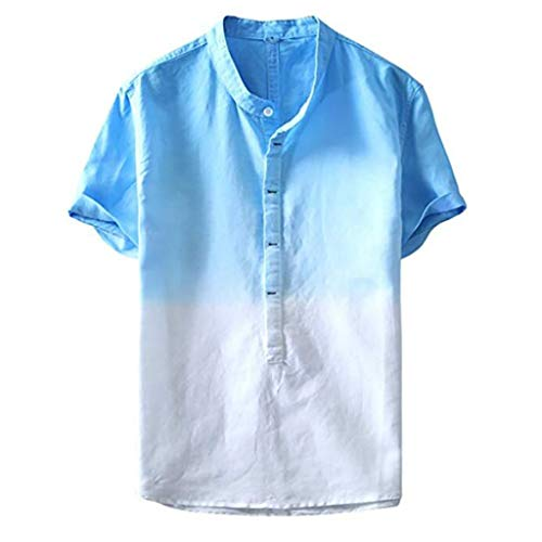 Luckycat Leinen Shirt Herren, Sommer Rundhalsausschnitt Farbverlauf Tops lose Kurze Ärmel Mode Baumwollshirt Baggy Basic Fitness Bluse Freizeit Sweatshirt