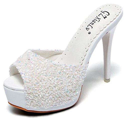 Easemax Damen Modisch Peep Toe Ohne Verschluss Pailletten Stilettos Mules Sandalen Weiß 34 EU (Importiert Sandalen Casual Womens)