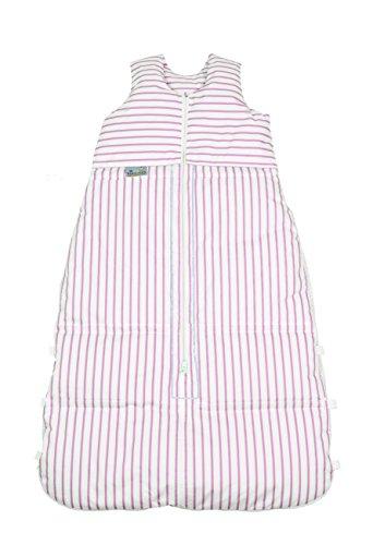 ARO ARTLÄNDER 87590 Sac de couchage duvet 130 cm (peut être réduit à 120 cm et 110 cm), design à rayures, blanc/rose