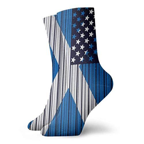 tyui7 Vintage Barcode USA Schottland Flagge Socken bunte coole Sport Running Strümpfe für Männer & Frauen