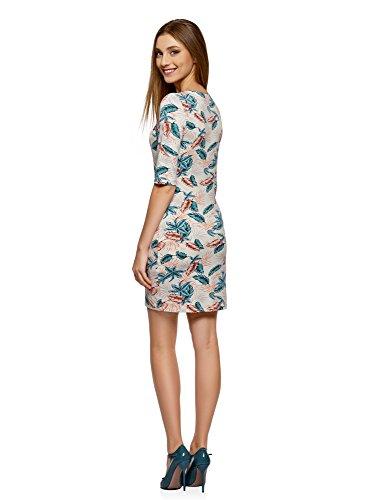 oodji Ultra Damen Enges Jersey-Kleid Weiß (1273F)