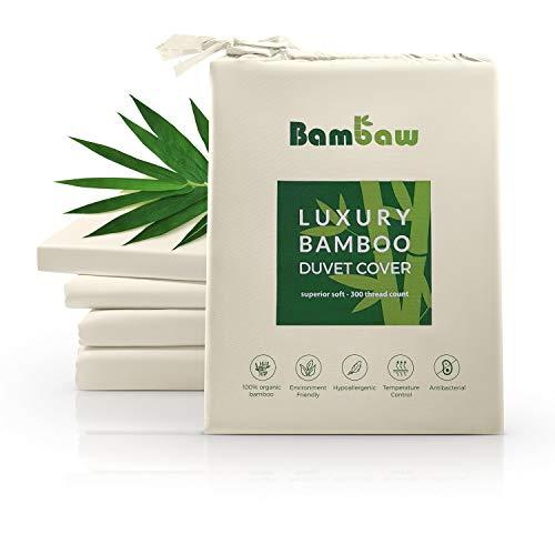 Bambaw Deckenbezug aus Bambus | Luxus Bettwäsche Bambus | Allergiker Deckenbezug | Lyocell bettwäsche | Super Atmungsaktiver Stoff | Anti Milben Deckenbezug | Elfenbein | 200x200 -