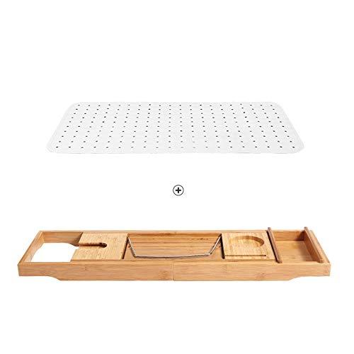 HhGold Regale Regale Luxury Bathtub Caddy - Ausziehbares Badezimmerschrank aus Bambusholz, einstellbares Buch, iPad Kindle-Leseständer - Weinglashalter - Handy-Tablet-Slot-Racks