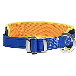 Aoneky Safety Work Positioning Belt - Rock Mountaineering Climbing Body Belt with Hip Pad and Side D-Ring - Fall Arrest Harnesses Safety Equipment (blueyellow)