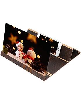 HUHU833 3D Phone Screen Magnifier, Premium Smartphone Lupe Stereoscopic Desktop Wood Bracket für 12-Zoll-Lupen...