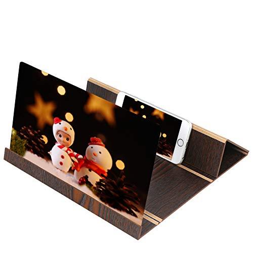 bescita Handy Bildschirm Lupe, 3D Screen Magnifier Bracket Portable Stereoscopic Ständer Universal Mobiltelefon Projektor Desktop Holz Halter Vergrößerung Handylupe, Kein Strom Erforderlich (Kaffee) -