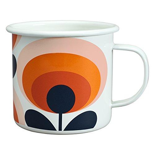 Orla Kiely Tasse aus orangefarbener Emaille, weiß