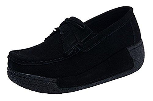 wealsex Baskets Daim Frange Plateau Compensée Femmes Chaussures de Tennis Marche Sneakers Basse Plateforme